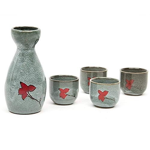 4 tlg Sake Set Handgemalte Keramik Japanischer Sake-Set Stil aus Steinzeug Porzellan mit Dekor Sake-Garnitur (1x Flasche / Karaffe + 4 Becher )170 ML Sake-becher-set