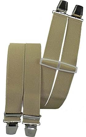 Hosenträger mit 4 extra starken Clips uni Farben, Farben:beige
