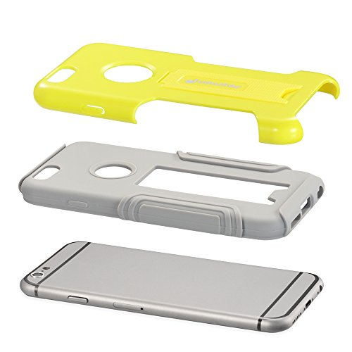 "Fosmon HYBO-VIEW Abnehmbar Hybride Silikon + PC Case Cover hülle für Apple iPhone 6/6s (4.7"") - Grau (Silikon) / Gelb (PC) Gelb / Grau"