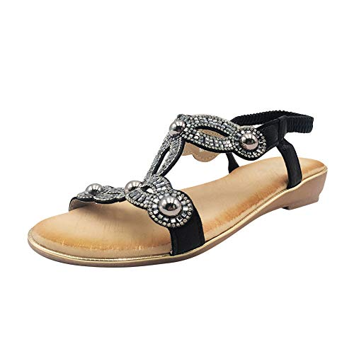 uirend Schuhe Damen Sandalen - Offene Spitze Böhmen Strass Blume Perle Schuh Boho Strand Casual T-Strap Post Tanga Flache Schuhe