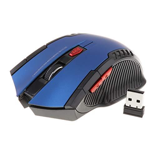 H HILABEE Tragbare Optische Funkmaus 2.4G Maus kabellos Mouse Mäuse Gaming mit USB-Empfänger für Laptop und PC - Blau