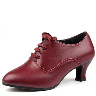 Scarpe da ballo-Non personalizzabile-Da donna-Balli latino-americani-Quadrato-Di pelle-Nero / Rosso Black