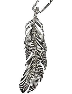 Kette Halskette Lange Kette mit Anhänger Strass Feder Antik Silber