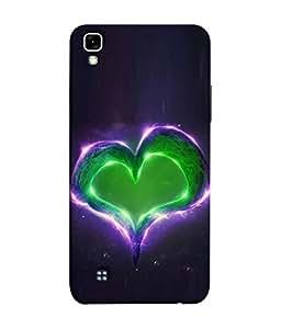 PrintVisa Designer Back Case Cover for LG X Power (Firey green blue purple heart)