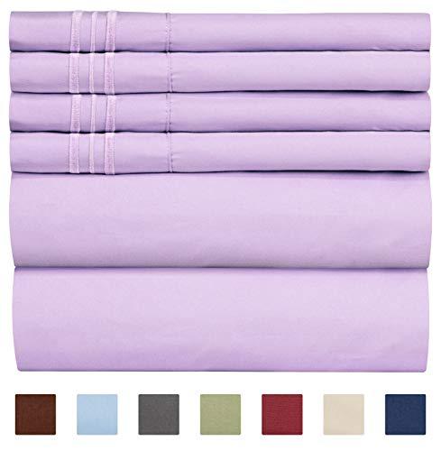 CGK Bettlaken-Set für Queen-Size-Betten, Bettlaken, Spannbettlaken, 4 Kissenbezüge, extra Tiefe Taschen, Mikrofaser, weicher als ägyptische Baumwolle Queen Lavendel -