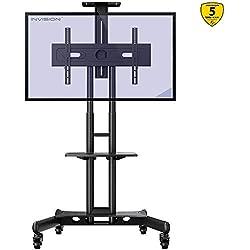 """Invision Chariot Meuble TV avec Roulette Support Télé Pied Pivotant de 32 à 65"""" - Mobile TV de Plancher Robuste - Anti-Basculement et Ultra Stable - Fixation VESA 600x400mm [GT1200 ScreenStation]"""