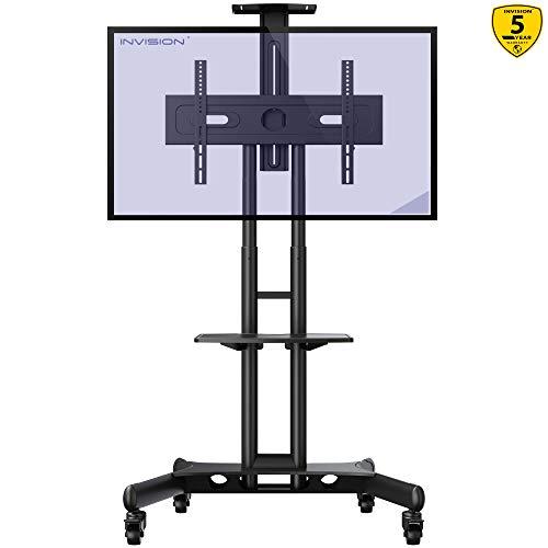 Invision supporto tv da pavimento con ruote carrello staffa porta mobile stand orientabile inclinabile per schermi 32 a 65