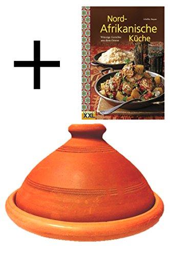 Tajine, original aus Marokko, inklusive Kochbuch Nord Afrikanische Küche, Tontopf zum Kochen, Tuareg Ø 35cm, für 6-8 Personen, handgetöpfert aus Marrakesch, frei von Schadstoffe