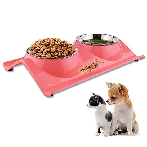 Fressnapf für Hund Katze Doppel Futternapf Edelstahl Hundenapf katzenapf Pet Schalen rutschhemmenden und ausschüttsicheren für Tiernahrung und Wasserzufuhr (Rosa) -