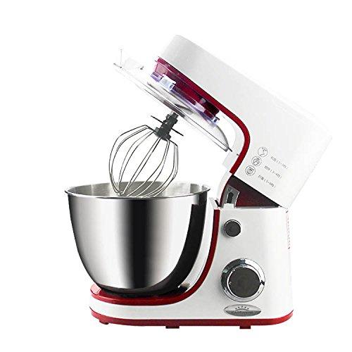 Wjsw 1200W Multifunktions Elektrische Vertikal Mixer Küchenmaschine,6 Geschwindigkeiten mit 4,2 Liter Rührschüssel mit Spritzschutz - Inklusive Beater, Teighaken und Schneebesen