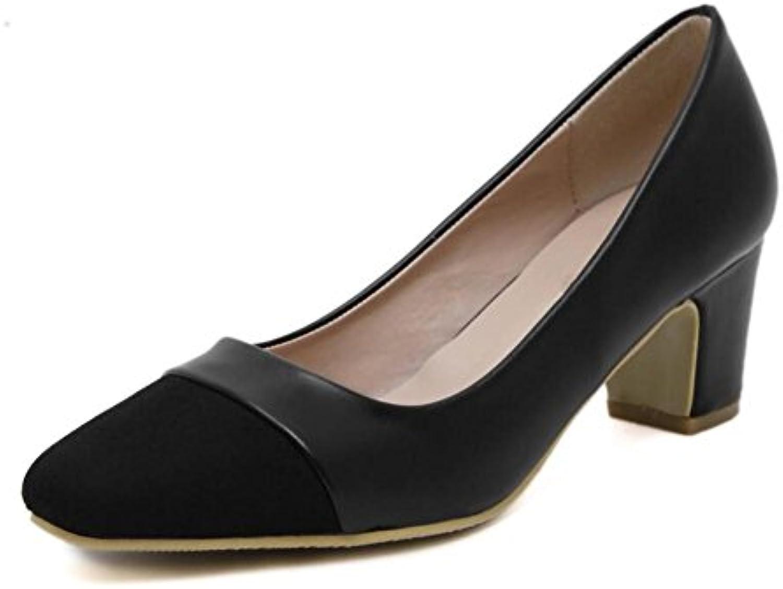 XIE Zapatos de Mujer de la Corte Square Toe Mid con Zapatos de Tacón Alto con la Boca Baja Mixed Color Single...