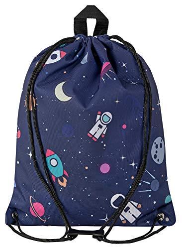 Aminata Kids - Kinder-Turnbeutel für Junge-n und Mädchen mit Weltall Astronaut Universum Planet-en Weltraum Sport-Tasche-n Gym-Bag Sport-Beutel-Tasche dunkel-blau...