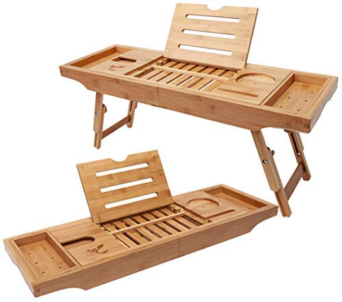 Badewanne Tablett & Bambus Laptop Schreibtisch, Neuesten Einzigartig Zen Design Verstellbarer Bein Bad & Bett-Tablett, Bambus Badewanne Caddy Tablett mit Zwei Faltbare Beine, iPad Halterung