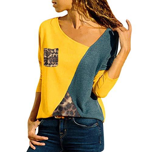 MRULIC Damen Kurzarm T-Shirt Rundhals Ausschnitt Lose Hemd Pullover Sweatshirt Oberteil Tops(B-Gelb,EU-42/CN-XL)