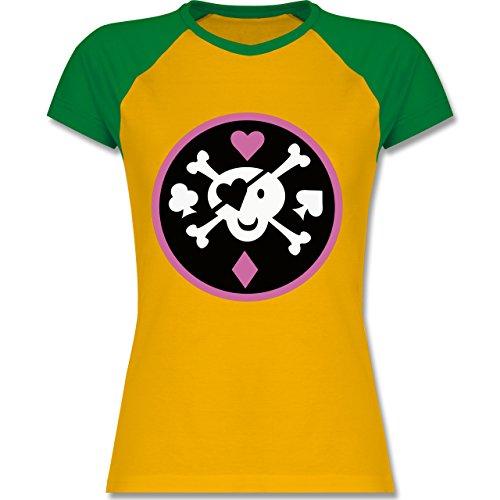 Shirtracer Piraten & Totenkopf - Süßer Totenkopf - Zweifarbiges Baseballshirt/Raglan T-Shirt für Damen Gelb/Grün