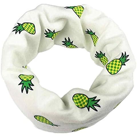 Koly Pañuelo estampado de piña y algodón de los niños y niñas (blanco)