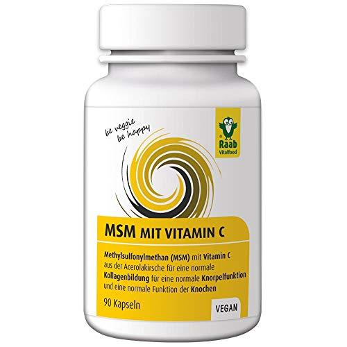 Raab Vitalfood MSM-Kapseln, Methylsulfonylmethan, Vitamin C für eine normale Kollagenbildung, eine normale Knorpelfunktion, 57 g
