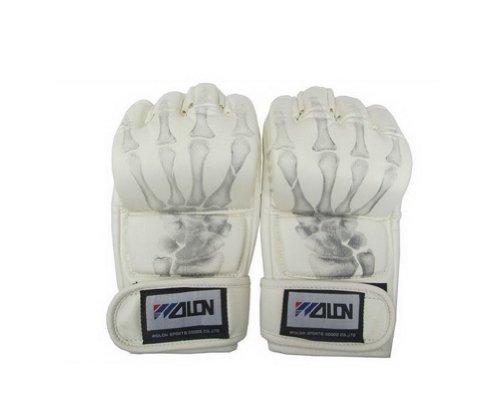 Herren Boxhandschuhe Weiß Skeleton MMA Grappling Handschuhe