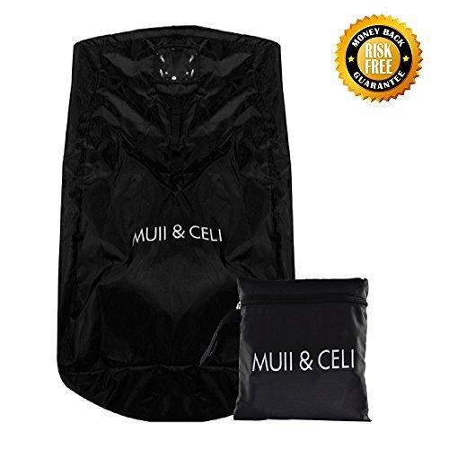 Muii & celi car seat gate check borsa da viaggio con tracolla e tracolla multi-tasca, custodia leggera ideale per i treni aerei (nero)