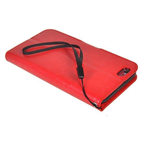 iPhone 6 Plus/ 6s Plus (5.5 inches) Coque,COOLKE Flip Pliable Cover Case Portefeuille Wallet Etui Cuir Cas Shell avec Pratique Fonction Support Fermeture Magnétique Card Holder pour Apple iPhone 6 Plu Rouge