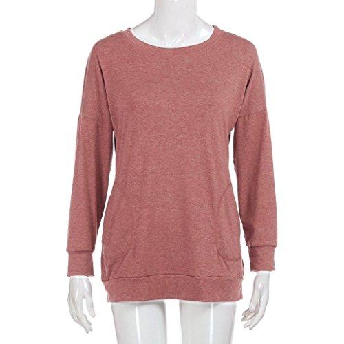 DOLDOA Femmes manches longues en coton solides lâches poches T-Shirt Blouses Rouge