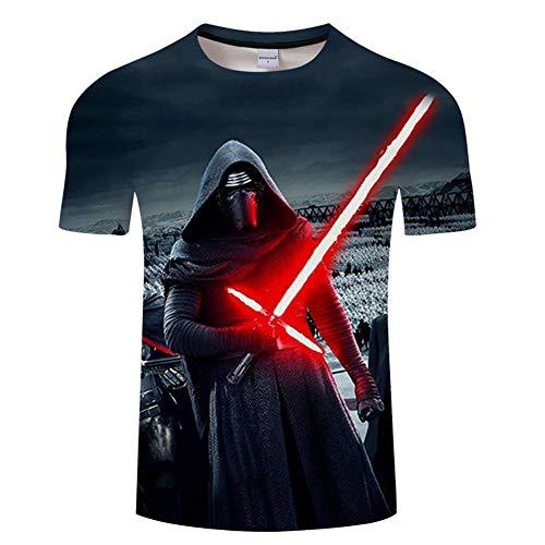 Ywfzzxs T-Shirt 3D Tops Mode-T-Shirts Unterhemden Kurzarm Unisex Neuheit Kostüm HD Anime Druck Weste Star Wars Darth Vader M