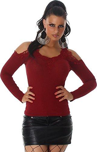Voyelles Damen Shirt Langarmshirt Pullover Sweatshirt Sweater Pulli  Schulterfrei Spitze Ripp-Shirt Hüftlang Rot d0c97171e8