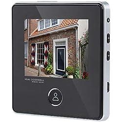 Sonnette Vidéo, 3,0 Pouces LCD 3MP HD Caméra de Sonnette avec Vision Nocturne, 120 Degrés Grand Angle Batterie Rechargeable intégrée IR Caméra Moniteur Système de Sécurité pour Maison.