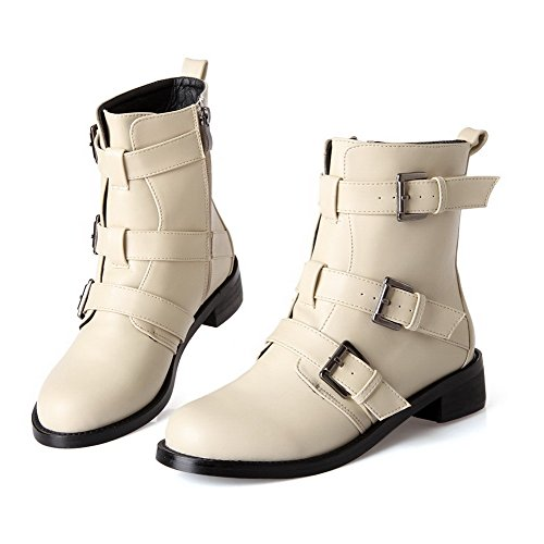 AllhqFashion Damen Weiches Material Niedriger Absatz Reißverschluss Rund Zehe Stiefel Cremefarben