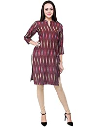 Vastraa Fusion Women Pure Handloom Ikat Cotton Straight Kurta- Available in Multicolor and Size Options