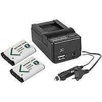 Juego 3en 1para videocámara Sony HDR-PJ410Full HD,2 baterías (1000mAh) + cargador 4 en 1 (con conector USB, micro-USB y coche)