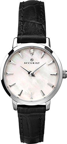 Accurist Femme montre à quartz analogique avec cadran argenté et bracelet cuir noir 8228