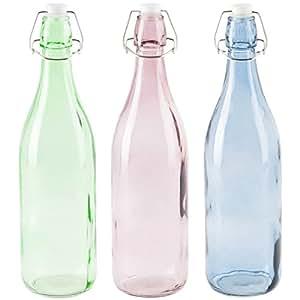 levivo 3er set glasflaschen in verschiedenen farben mit b gelverschluss k che haushalt. Black Bedroom Furniture Sets. Home Design Ideas