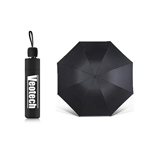 Regenschirm Taschenschirm , Veotech Regenschirm für Regen und Sonne UV-Schutz windsicher wasserabweisende Teflon-Beschichtung faltbar Vinyl Sonnenschirm Kompakter Reiseschirm für Frauen und Männer