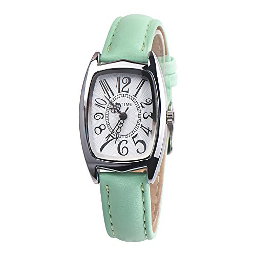 Uhren DELLIN Mode lässig Chic Retangle Damen Lederband analog Quarzuhr (Grün)