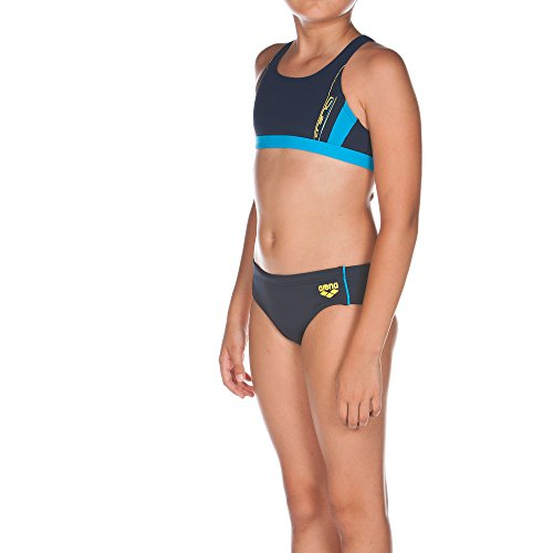 arena Mädchen Bikini Sprinter, Navy/Turquoise, 140, 1A858