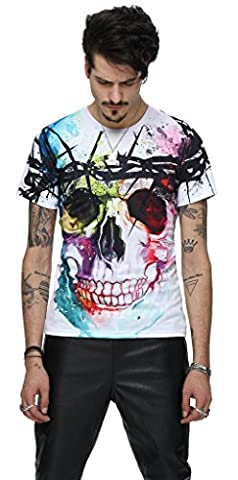 Pizoff Unisex T Shirts with colorful skull cool 3D Animation Digital Printing