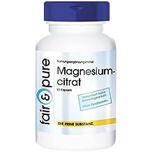 Magnesiumcitrat - 90 Kapseln - vegan - organisch und gut verträglich - ohne Magnesiumstearat
