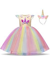 NNJXD Mädchen Einhorn Blume Hochzeit Cosplay Party Hochzeit Prinzessin Kleid