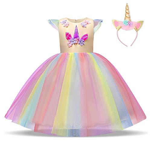 NNJXD Mädchen Einhorn Kleid Blume Applique Party Cosplay Halloween Phantasie Kostüm Headwear Größe (130) 5-6 Jahre Gelb