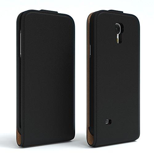 EAZY CASE Flip Case Hülle für Samsung Galaxy S4 Mini Handyhülle - Premium Schutzhülle zum Aufklappen, Klapphülle - Flip Cover in Rot Schwarz