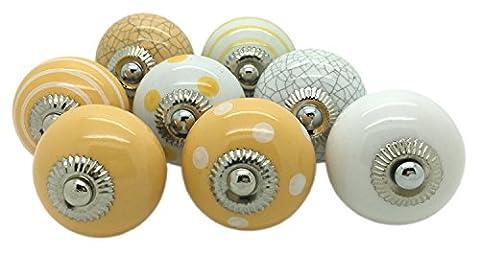 8x Gelb Keramik Türknauf, Vintage Shabby Chic Schrank Schublade Pull Griffe