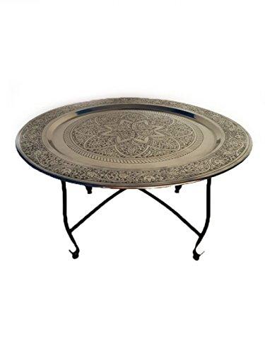 Marokkanischer Tisch Wohnzimmertisch aus Metall Sule ø 80cm rund | Orientalischer runder Teetisch mit klappbaren Gestell in Schwarz | Das Tablett diese Klapptische ist orientalisch in Silber -