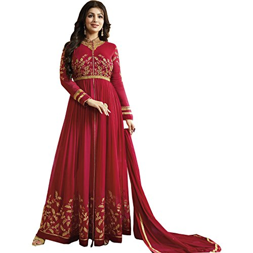 Heaven Villa Fashion Women Designer Georgette Red Embroidered Semi Stitched Long Anarkali Suit(Heaven Villa Fashion...