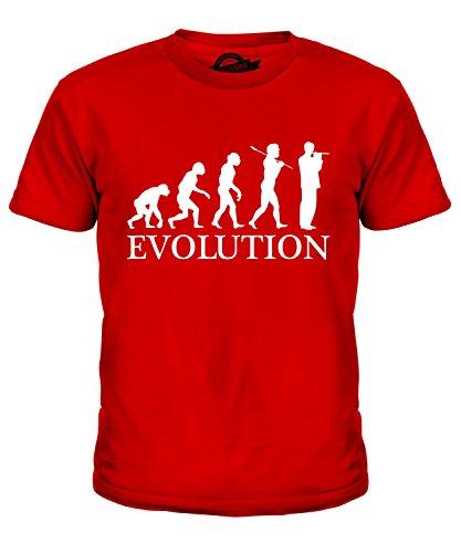 Candymix Piccoloflöte Evolution des Menschen Unisex Kinder Jungen/Mädchen T Shirt, Größe 2 Jahre, Farbe Rot