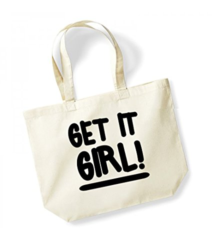 Get It Girl! - Large Canvas Fun Slogan Tote Bag Natural/Black
