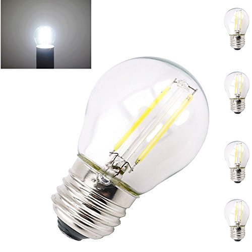Bonlux 2W G45 E27 LED Filament Birne Kaltweiß 6000K Edison Schraube E27 Mini Globe LED Glühbirne (4-Stück, Nicht dimmbar) (Led-a15-glühbirnen)