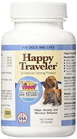 Ark Naturals Happy Traveler Natural Calmant for Dogs Cats 30 Capsules