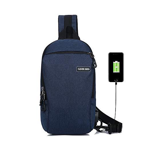 Brust Pack Sling Schulter Rucksäcke Leichte Unausgeglichen Umhängetasche Dreieck Rucksack Wasser reißfest, mit USB-Ladeanschluss zum Wandern Radfahren Reisen oder Multipurpose Tagepacks (Blue) -