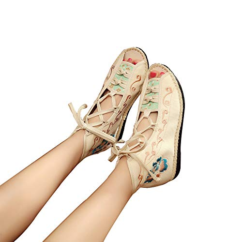 Hzyshoe Frauen handgemachte Stickerei Sandalen, Sommer hohe Hilfe Sandalen, Peep Toe Gladiator Canvas Chinese Lace Up,40 -